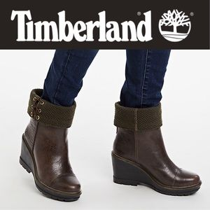 🆕 Timberland Kellis Wedge Brown Roll Down Boots 8